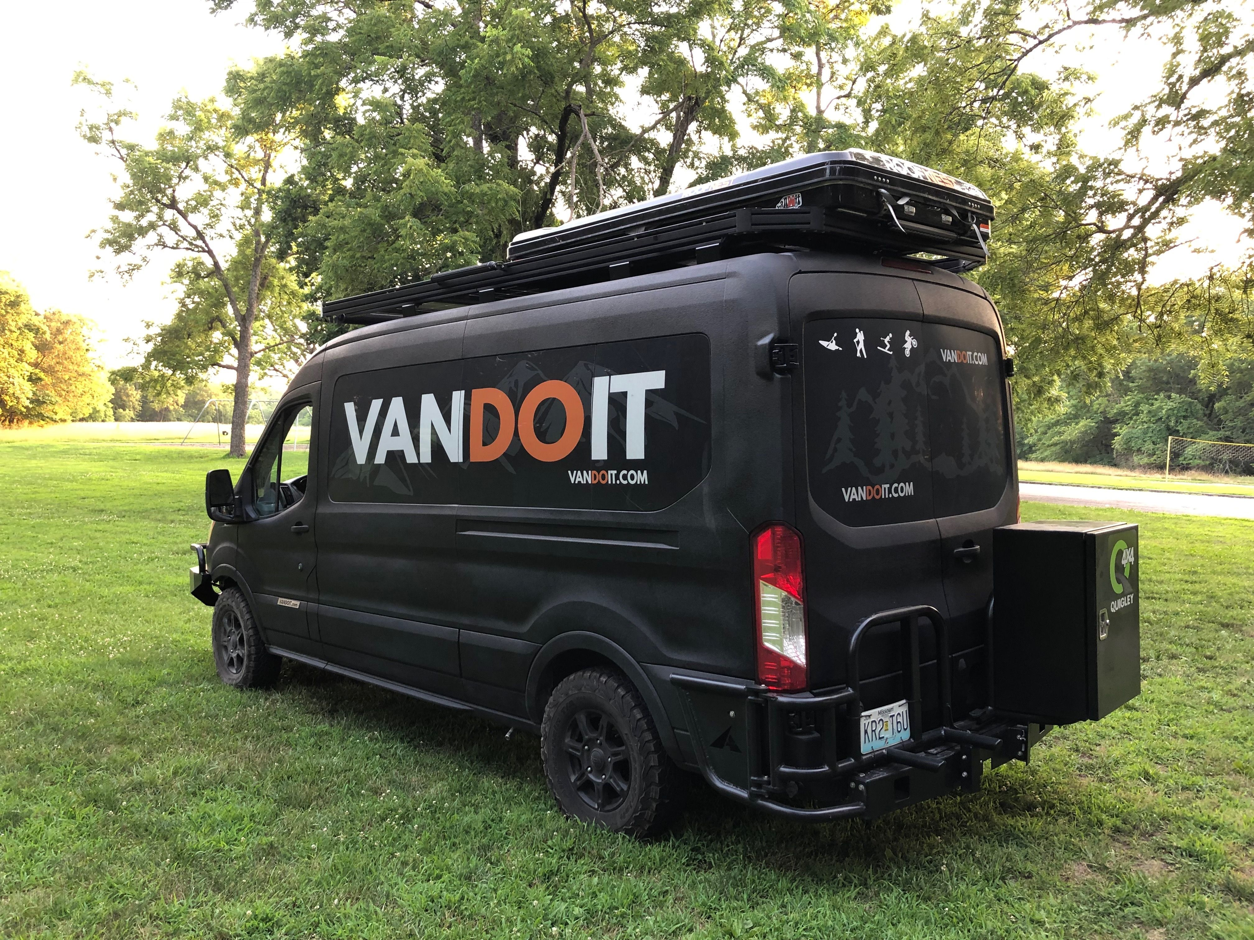 Vandoit Adventure Van With Quigley4x4 Vandoit Roofrack Aluminess Bumpers And Roofnext Rooftoptent Vanlife Ca Ford Transit Camper Ford Transit Vans
