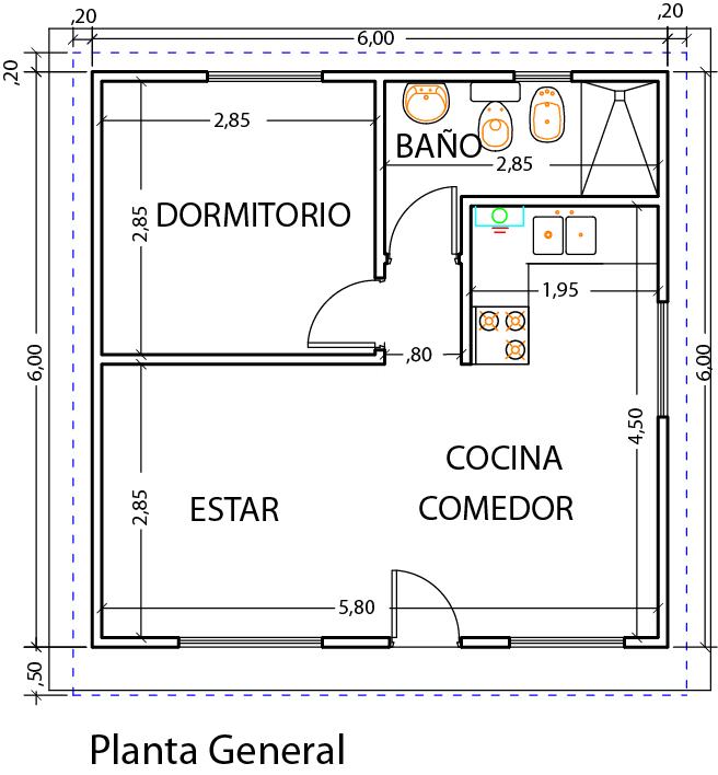 Dise o y planos vivienda 1 dormitorio 39m2 viviendas for Casa clasica 2 dormitorios techo inclinado