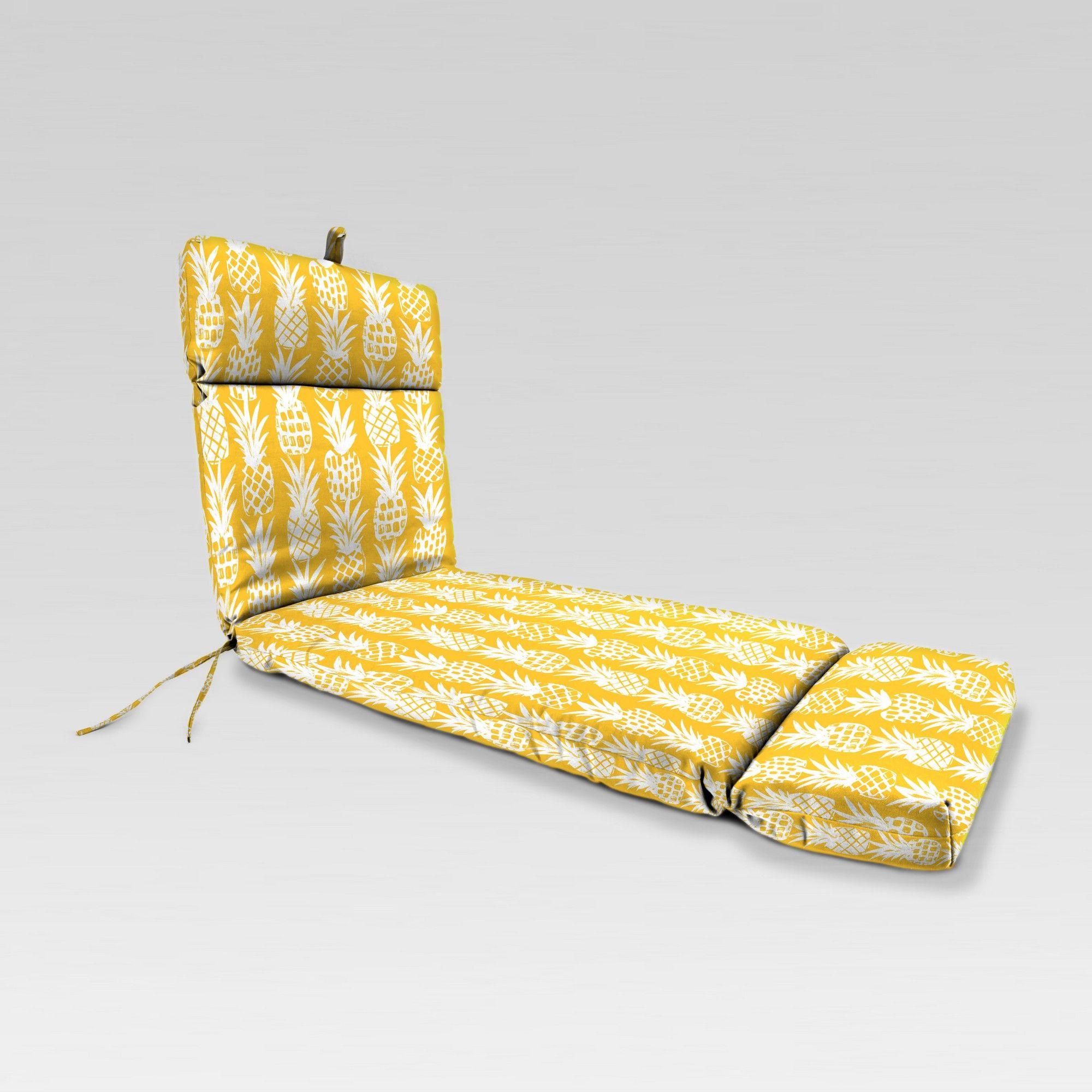 Outdoor French Edge Chaise Lounge Cushion Yellow Pinele Jordan Manufacturing