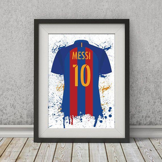 Best Lionel Messi Barcelona Shirt La Liga Illustrated Poster Football Bedroom Soccer Room 400 x 300