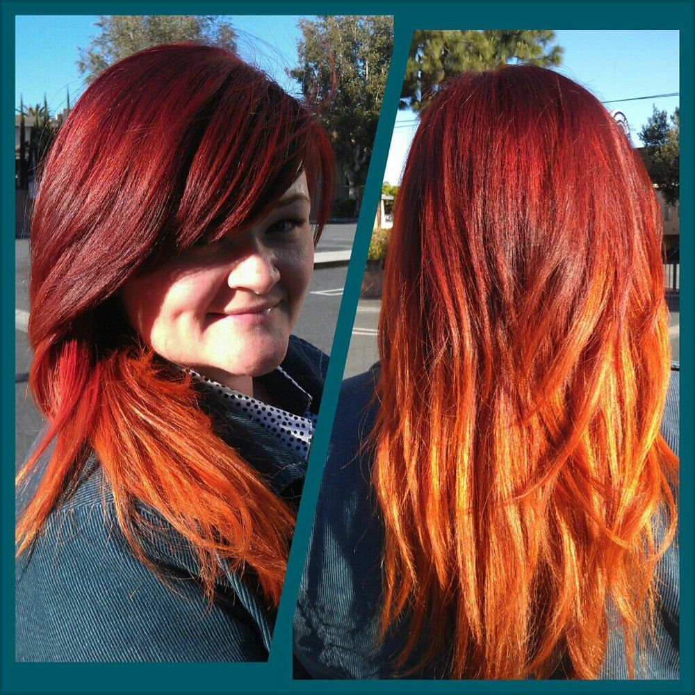 Red Hot Flame Ombreter Stripping Her Hair Color From Black To