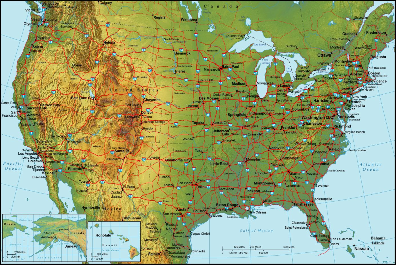 Physical map of the United States with