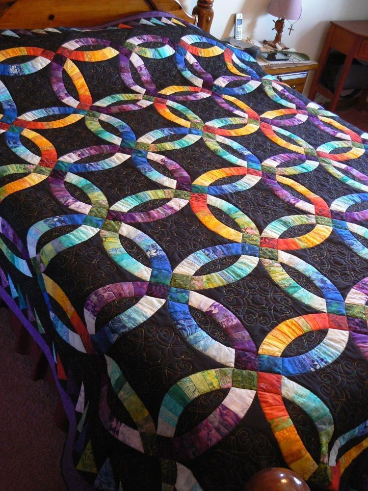 King Size Double Wedding Ring Quilt 104 X 104 Inches Rainbow Batik On Black Wedding Ring Quilt Wedding Quilt Double Wedding Ring Quilt