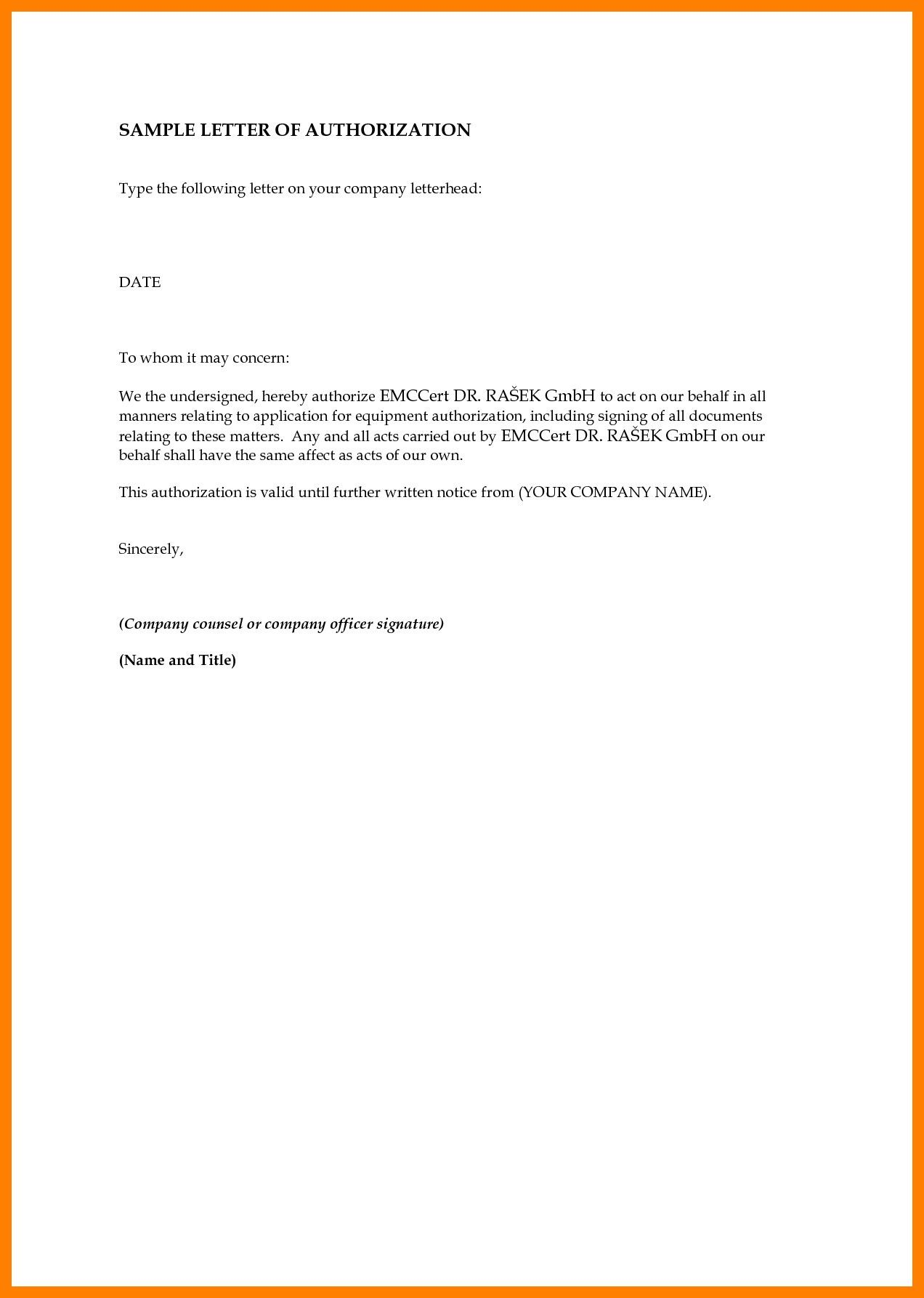 Sample Authorization Letter To Collect Police Clearan Awesome
