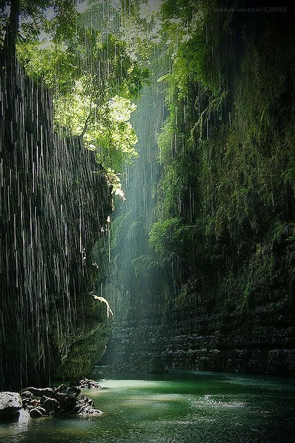^Green canyon in Indonesia this is where I want to escape to right now. I feel fairies would flutter around me lol it looks magical and serene here.