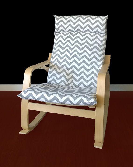 Ikea Poang Cushion Slipcover Grey Chevron Slipcovers For