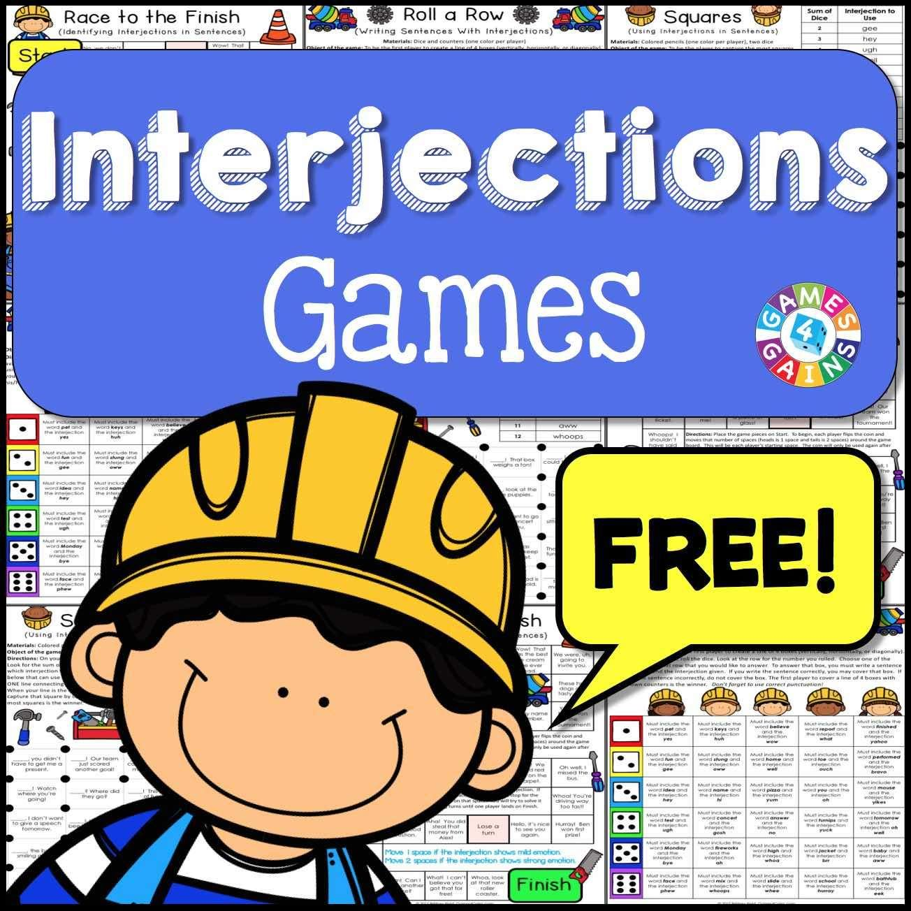 Interjections Games Free Contains 3 Fun And Engaging Printable Board Games To Help Students To