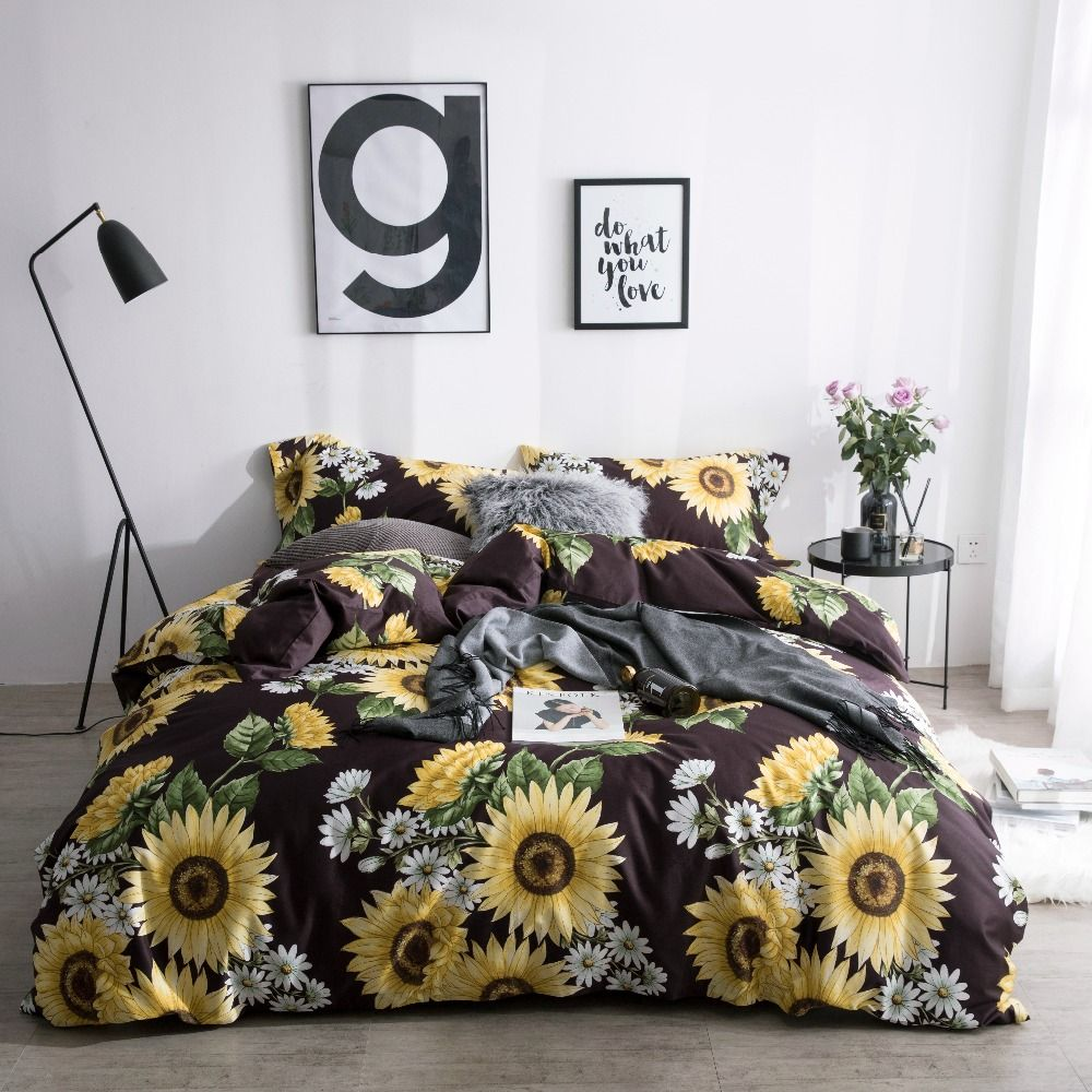 Sunflower Bedding Set Luxury Bed Linen Set Luxury Quilt Cover Sheets Pillowcases 60s Egyptian Cotton Bedding Bed Linens Luxury Bed Linen Sets Luxury Bedding