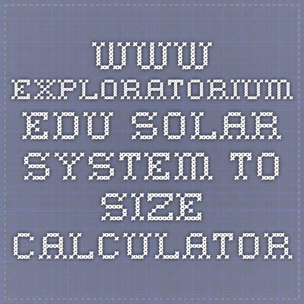 Www Exploratorium Edu Solar System To Size Calculator Solar System Model Solar System Build A Solar System