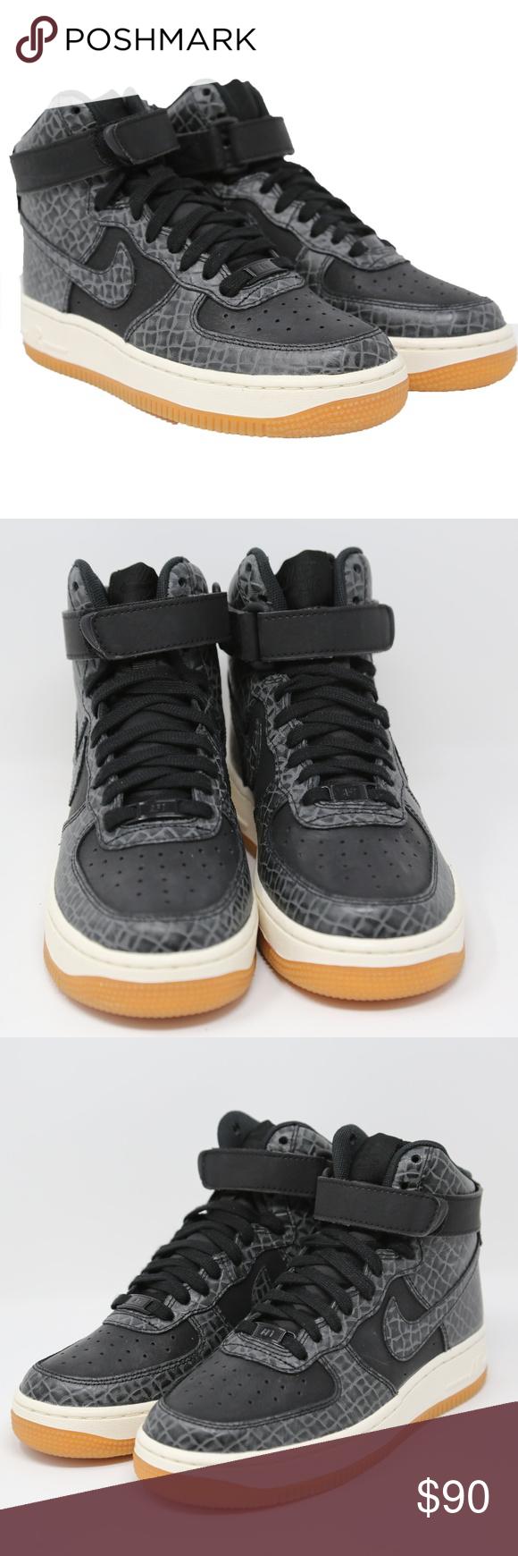 Nike Air Force 1 High Croc Skin Womens Black Gum Women's