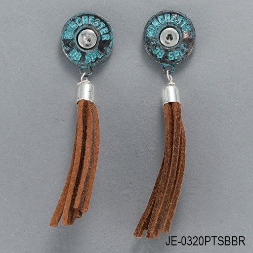 Silver-Patina-Winchester-38-Special-Bullet-Brown-Tassel-Dangle-Style-Earrings