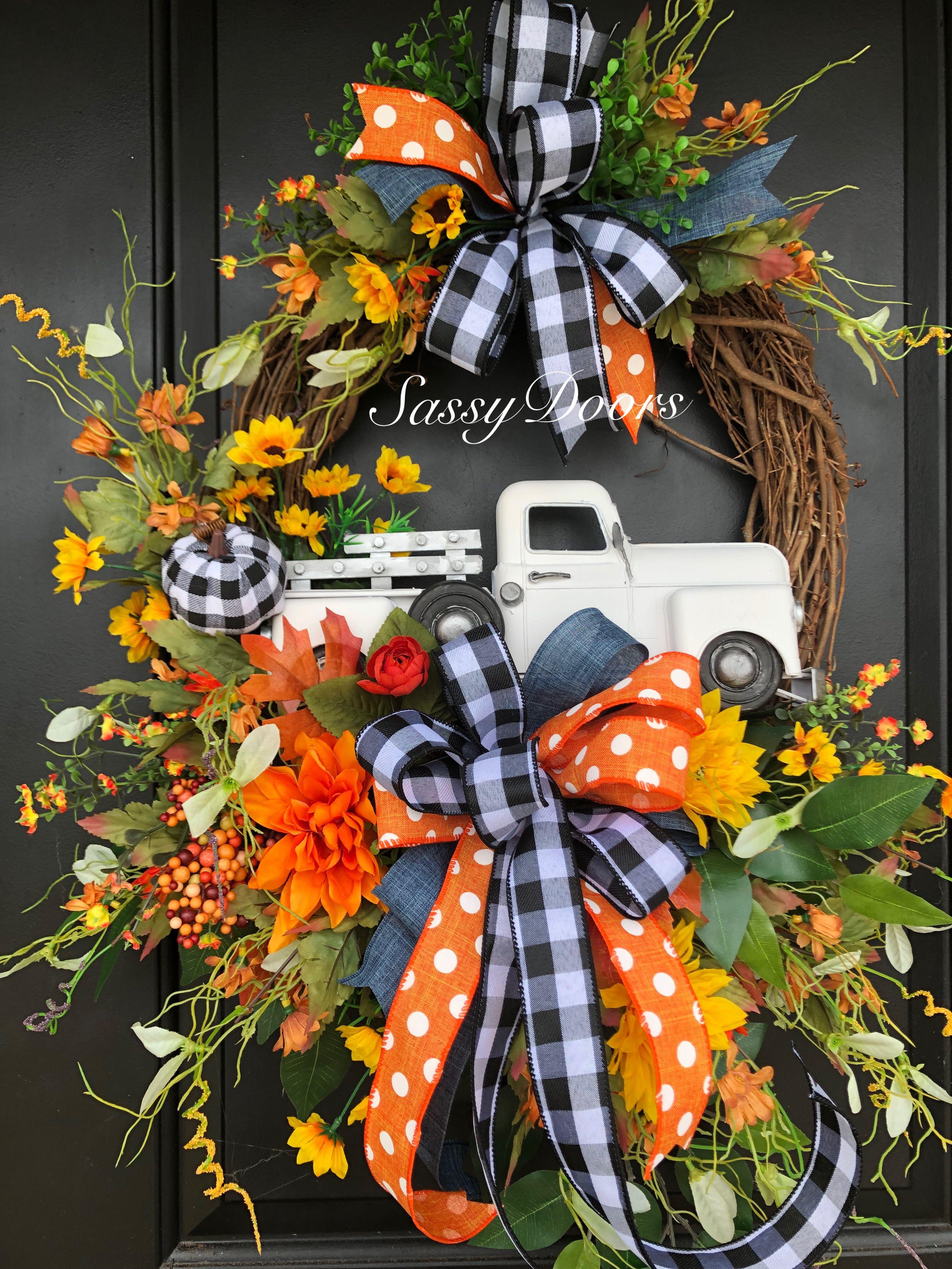 Leaf Wreath Red Truck D\u00e9cor Rustic Fall Wreath Autumn Home Decor Fall Pumpkin Wreath Vintage Truck Front Door Farmhouse Door