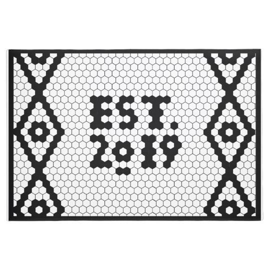 Large Est. 2019 Black and White Tile Doormat | Zazzle.com