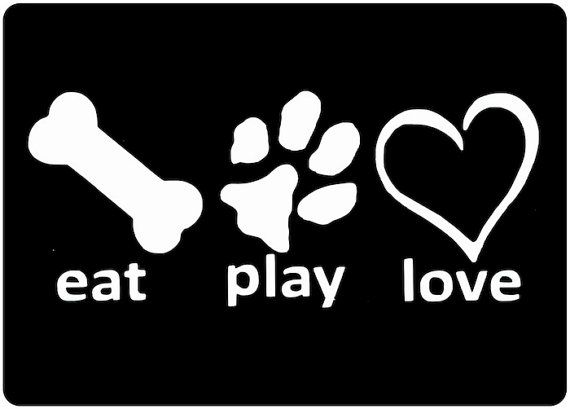 "NEW 7/"" DOG EAT PLAY LOVE PUPPY CAR STICKER ANIMAL PET DECAL CHOICE OF COLOURS"