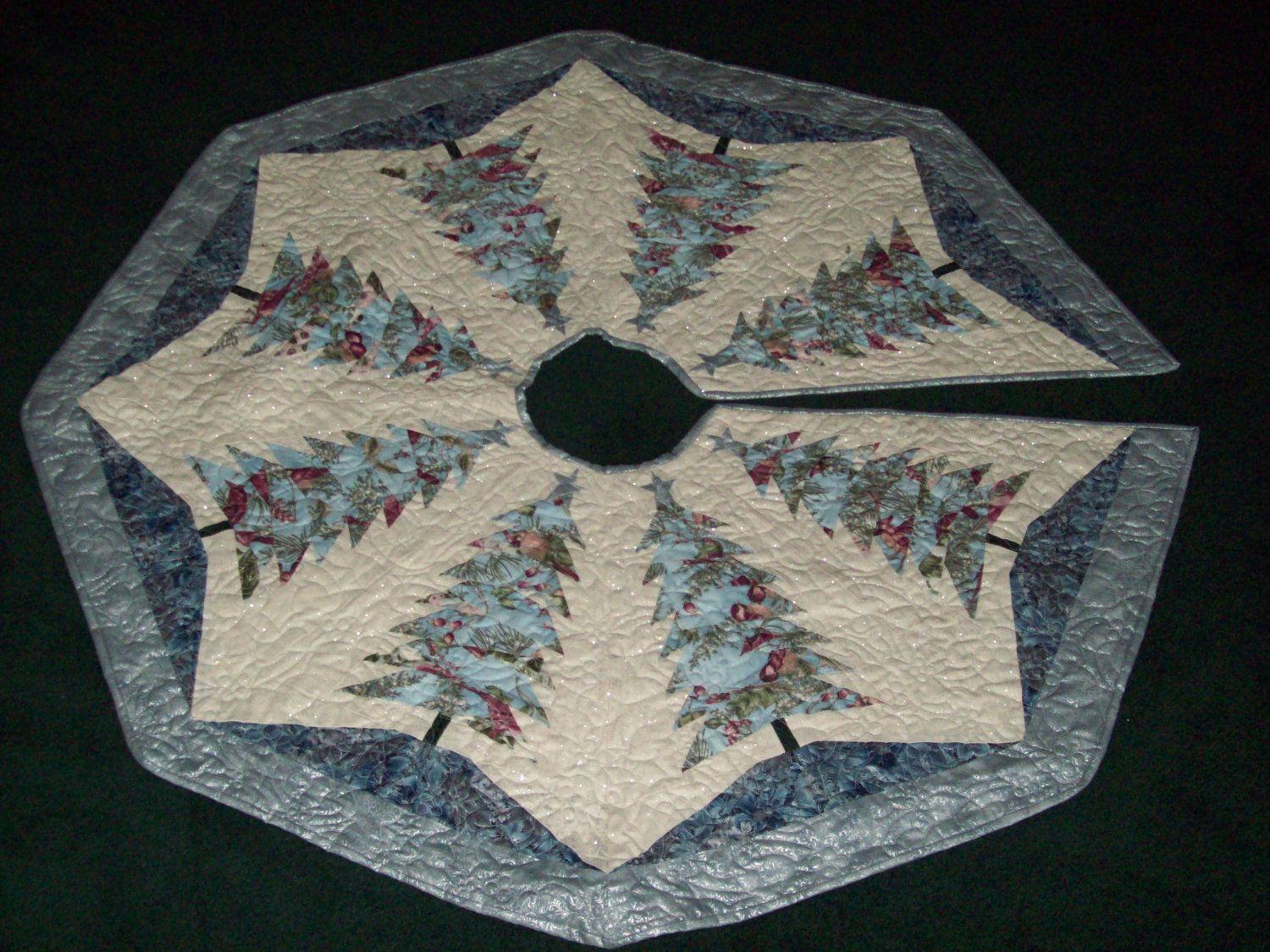 Machine Quilted Christmas Tree Skirt Silver And Blue