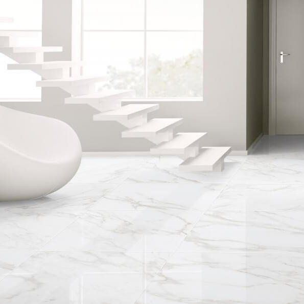 white floor tiles. Naos Large White Floor Tiles With Stairs