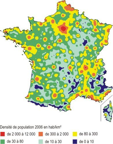 carte densité population france Carte de la densité de la population en France en 2006 (avec