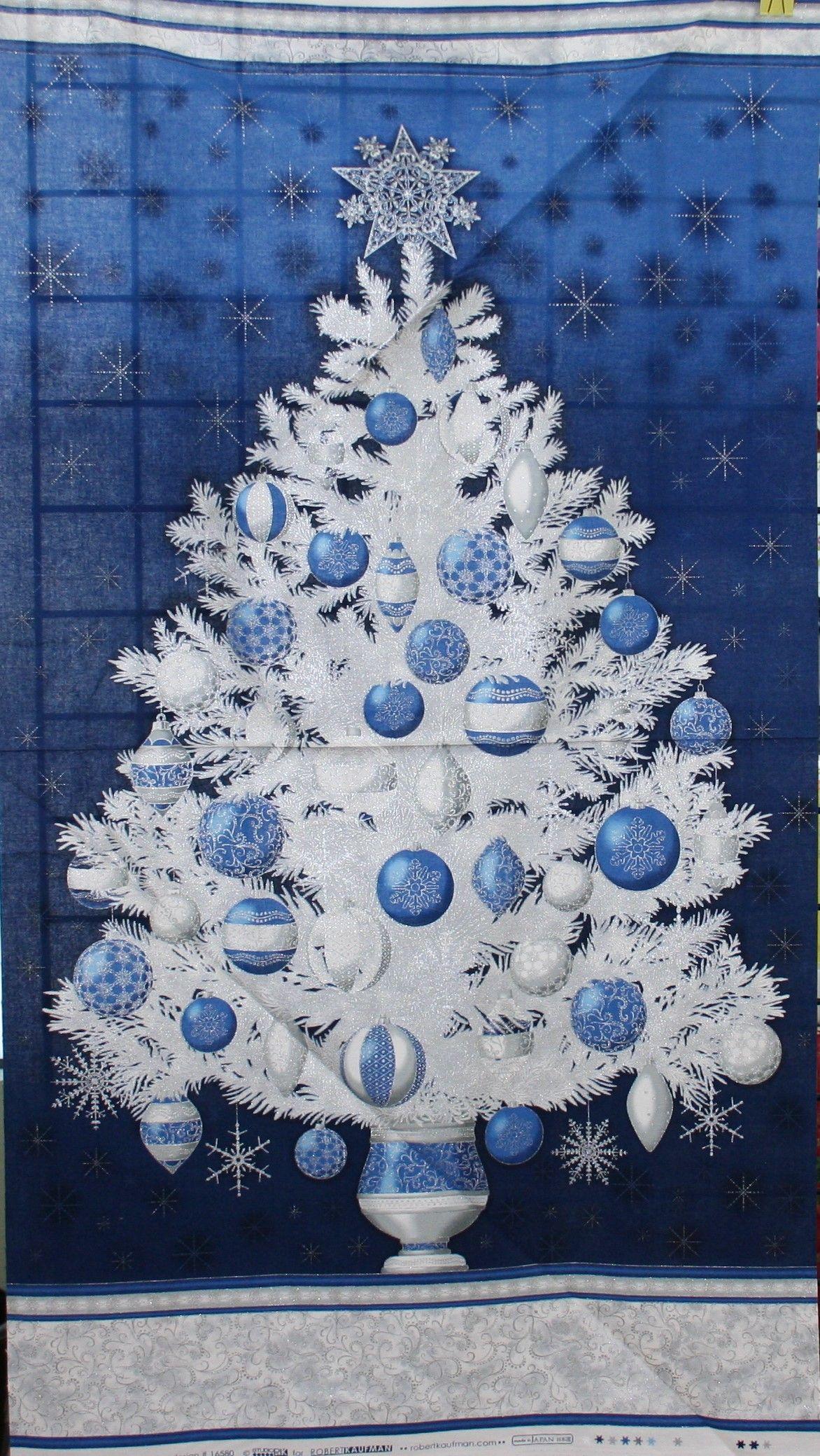 Christmas Tree Panel Blue Christmas Tree Quilt Panel Christmas Tree Quilt Blue Christmas Tree