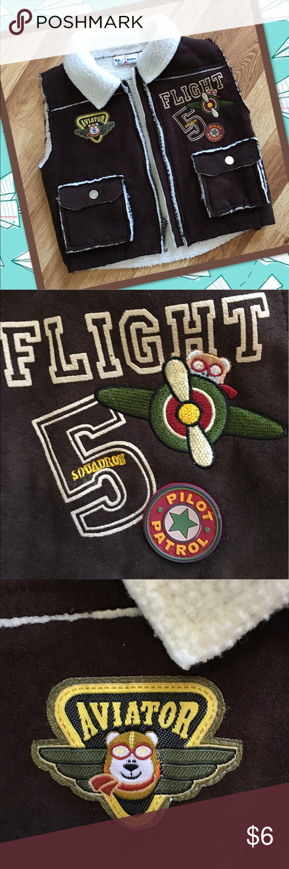 Fleece-lined Aviator Bomber Vest Fleece-lined with faux suede outside.  Covered in cute aviation themed patches. b.t kids Jackets & Coats Vests