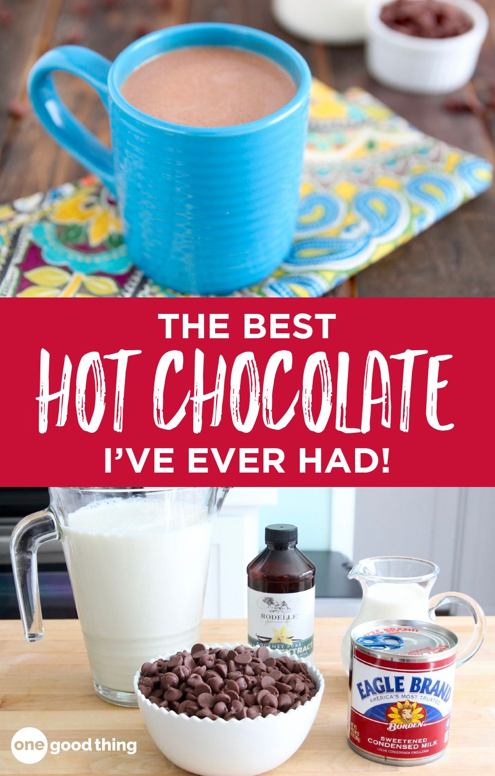 There's nothing more comforting that a creamy cup of hot chocolate on a cold day. This Crockpot Hot Chocolate is the best I've ever tasted! #hotchocolaterecipe