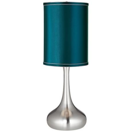 Teal Blue Satin Cylinder Shade Steel Droplet Table Lamp V4325 3w343 Lamps Plus Table Lamp Contemporary Table Lamps Table Lamp Design
