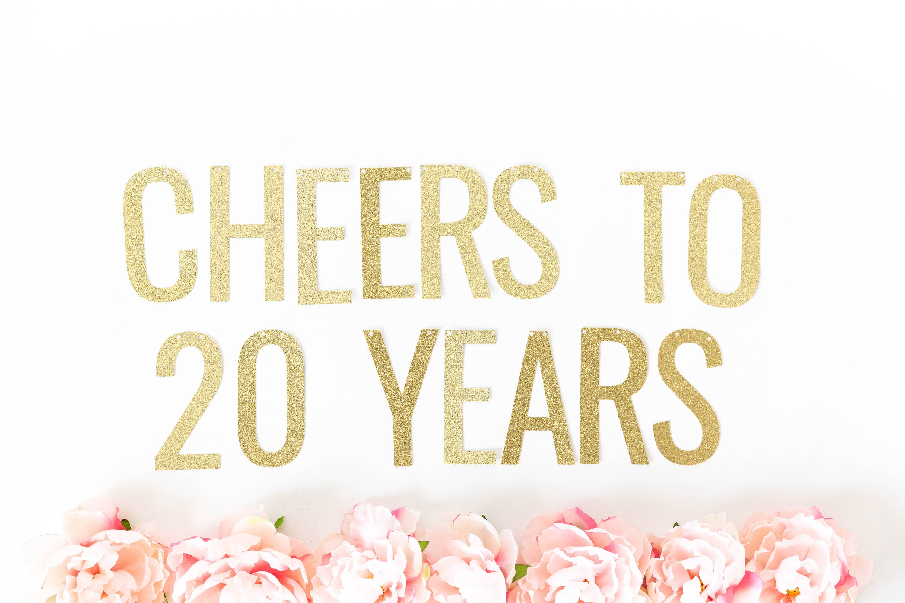 20th Birthday Retirement Party Cheers to 20 Years Banner Congratulations Banner 20th Anniversary