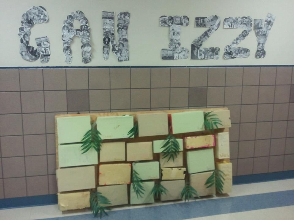 Camp Gan Izzy (Arlington, Texas) Western Wall Project....each child painted a shoe box and glued it to plywood.  Added greenery and everyday throughout camp their Mitzvahs will be added to the wall.