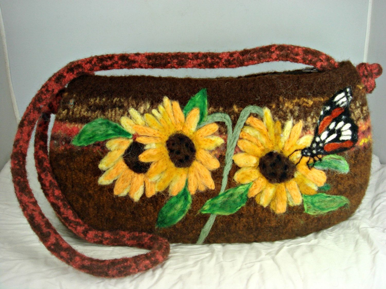 BIGGEST SALE EVER Felted Purse, Felted Handbag, Sunflower Art, Dragonfly Art, Needle Felt Flower - $136.00 USD