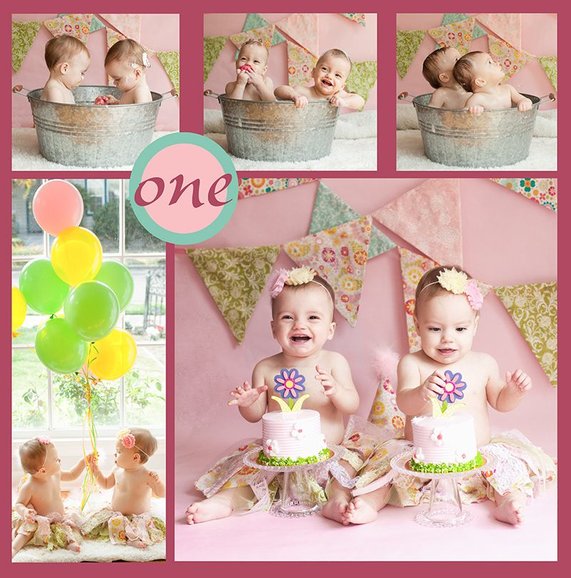 Twin One Year Old Girls Birthday Cake Smash Session At Photography
