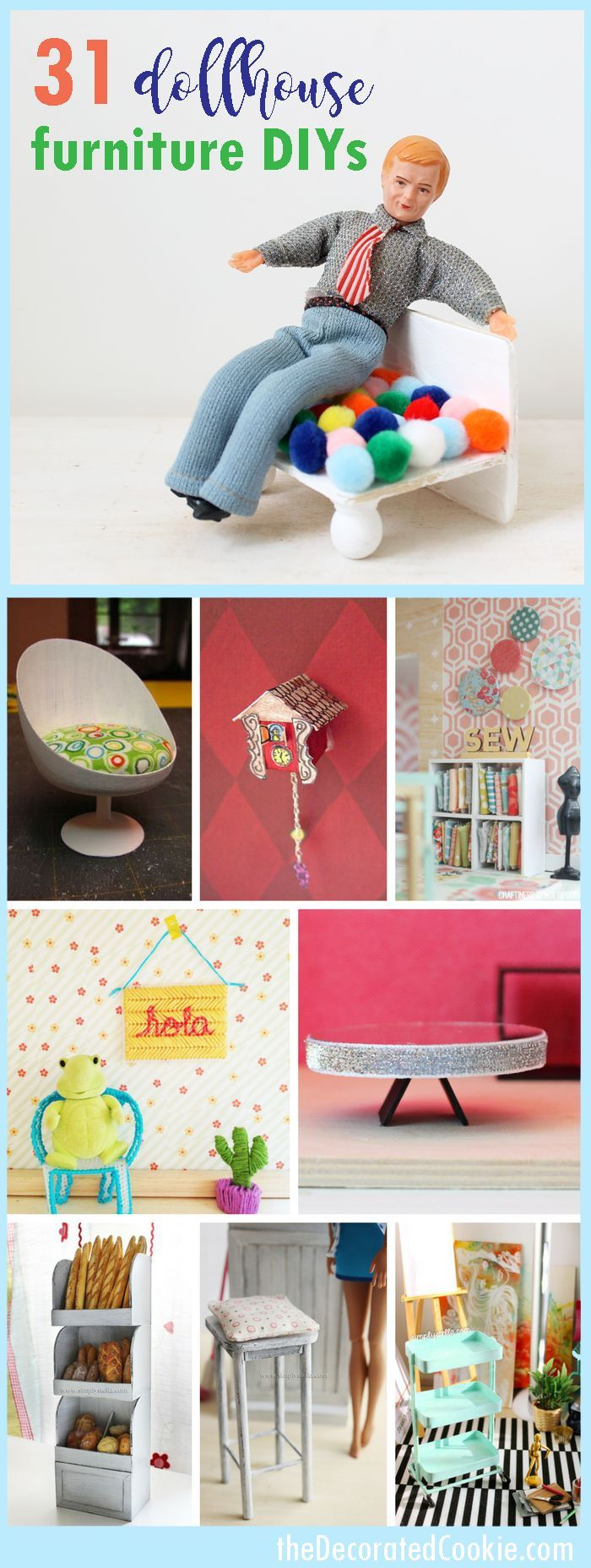 Doll house furniture ideas: A roundup of DIY doll house furniture tutorials. #barbiefurniture