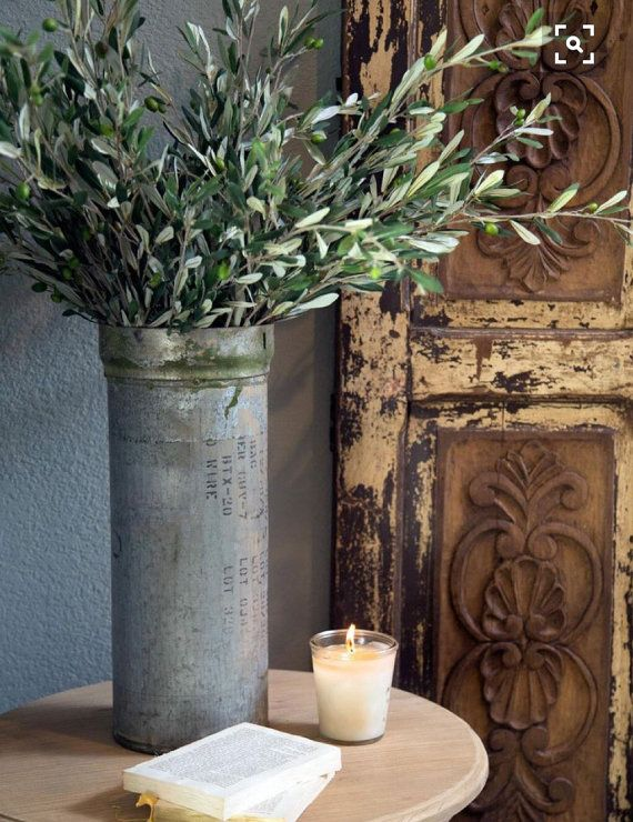 Olive branches~faux olive stems~farmhouse decor~rustic decor ...