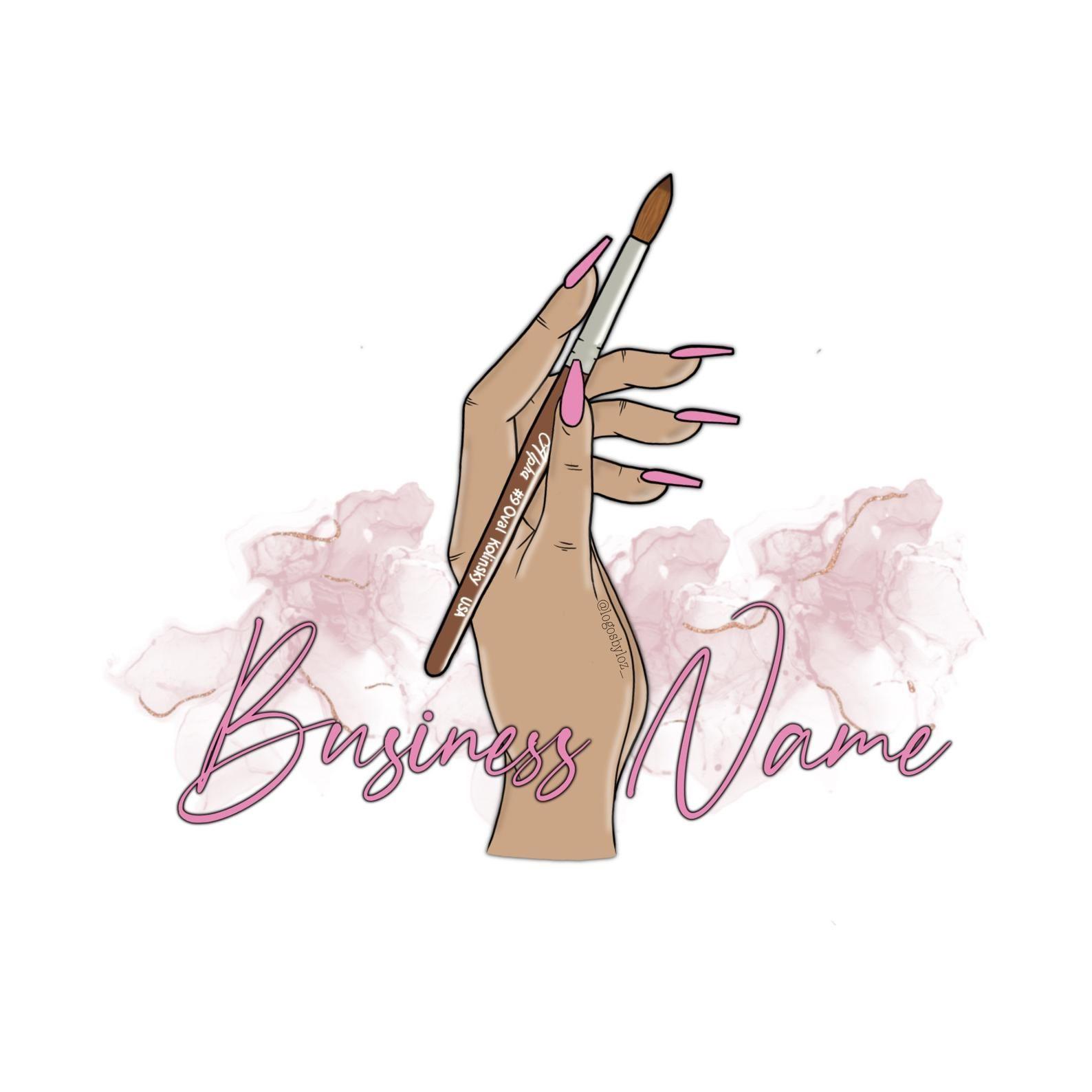 Nail Logo Cartoon Logo Makeup Logo Pink Logo Nail Etsy