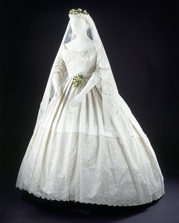 Wedding Dress, England, 1865, Worn At The Wedding Of Eliza