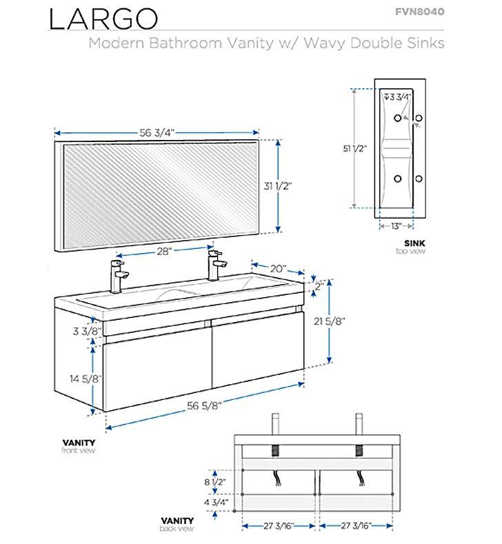 Fresca Largo White Wood Modern Bathroom Vanity W/ Wavy Double Sinks