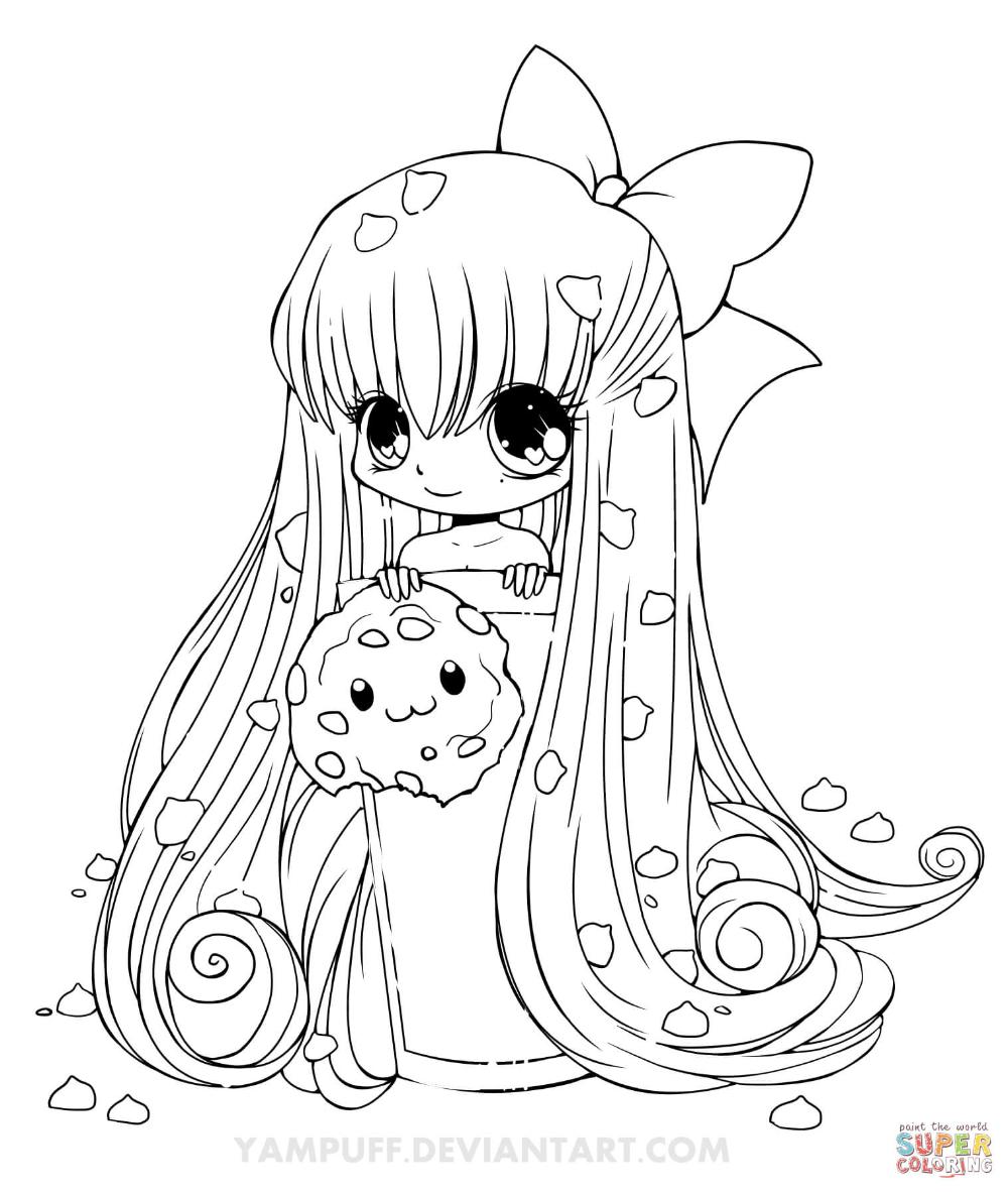 Chibi Cookie Girl Coloring Page Free Chibi Coloring Pages Cute Coloring Pages Animal Coloring Pages
