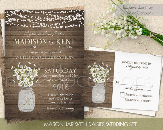 Rustic Wedding Invitations Mason Jar Wedding Invitation Printable