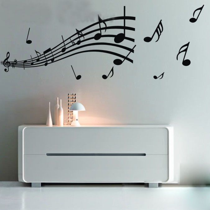 Music Note Pattern Graffiti Wall Home Decor Mural Decal Removable Sticker  Paper