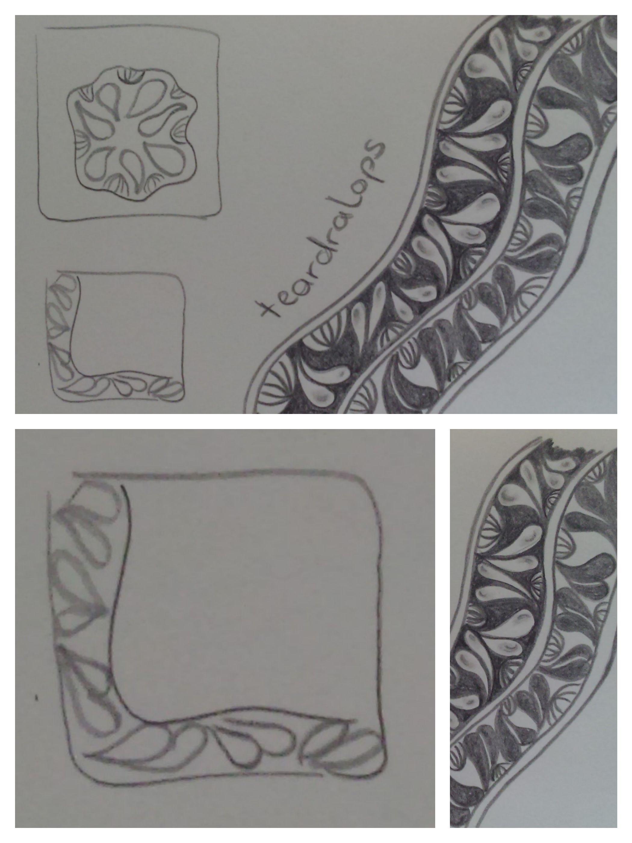 zentangle patterns: teardralops - gefunden auf https://www.flickr.com/photos/paintchip_61/albums/72157626103018863/page2