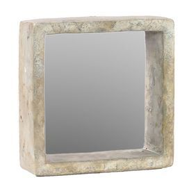 Open your foyer, living room, or powder room d�cor with this charming wall mirror, showcasing a lovely natural texture.   Product: Wall mirrorConstruction Material: Cement and mirrored glassColor: BeigeDimensions: 11 H x 11 W x 3.5 D Cleaning and Care: Wipe with clean damp cloth