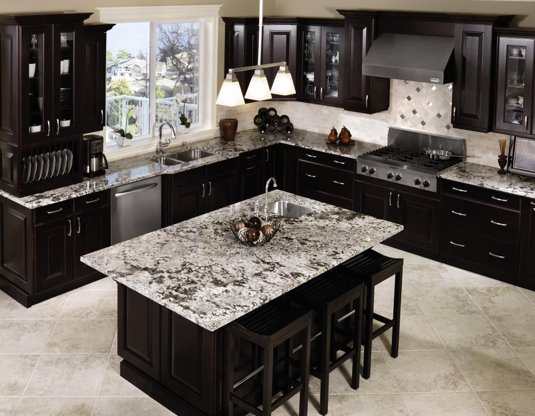 25 traditional dark kitchen cabinets | black appliances, white
