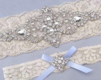 Ivory White Lace Garter Set Crystal Rhinestone Bridal Garters Something Blue Silver Belt Custom Size Keepsake And Toss