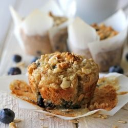 My all-time favorite blueberry muffins with a granola crumb topping. And they're totally healthy too!
