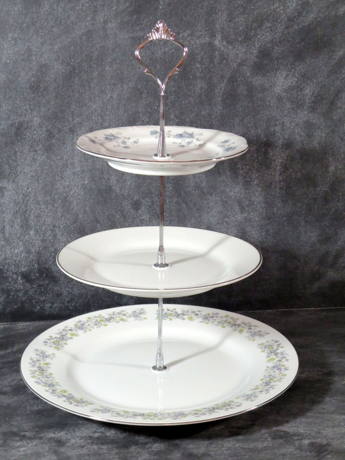 Large plates & New to DancingDishAndDecor on Etsy: Wedding Plate Stand 3 Tier China ...