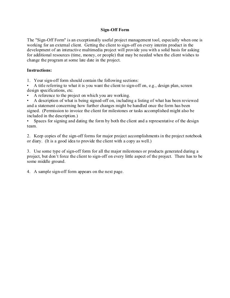SignOff Form The SignOff Form is an exceptionally useful – Sign off Form