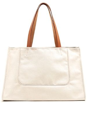 Leather-trimmed Canvas Tote Bag CONNOLLY LQB7Z5