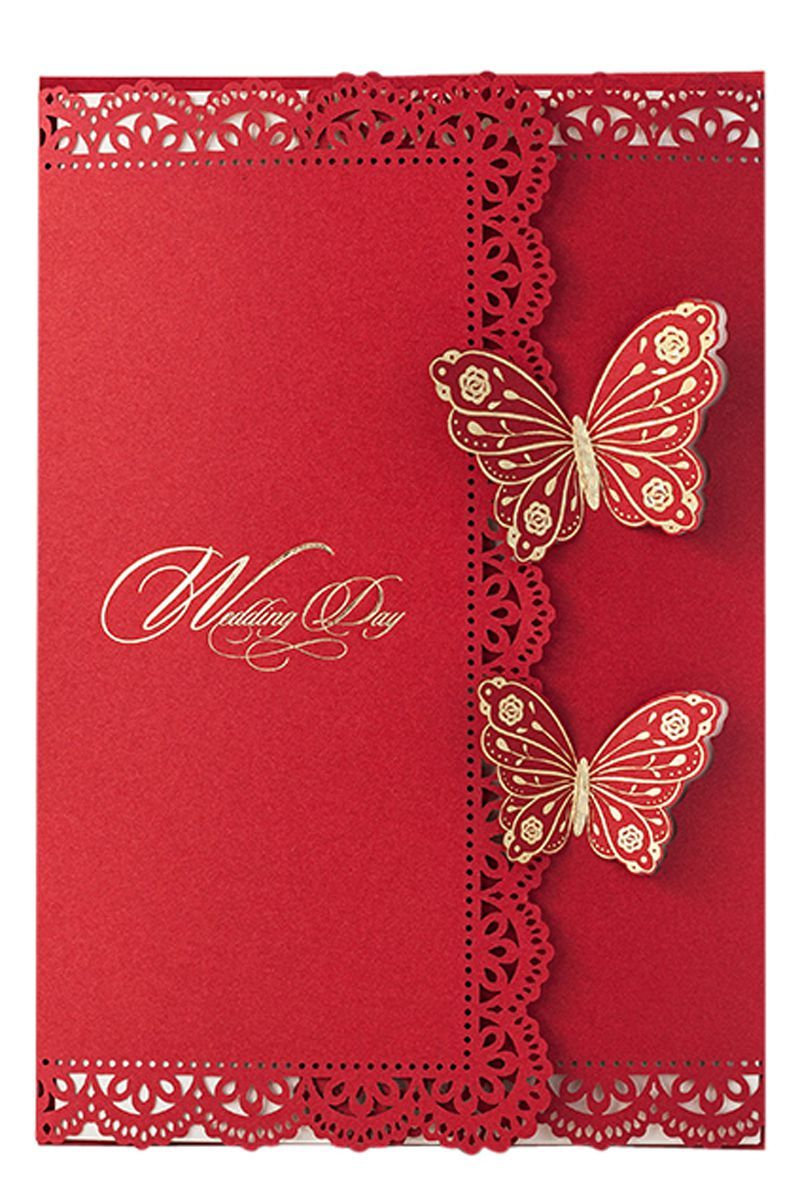 Personalised Indian Wedding Invitation Cards Chinese Red Gold