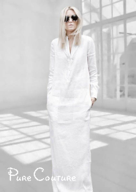 833c3dfbb58 White linen dress with sleeves Long shirt dress Linen maxi dress White linen  outfit Sheath dress Ele
