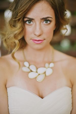 an ivory statement necklace for your wedding day // shoot by Minted.com + AStylishSoiree.com // photo by Tinywater.com
