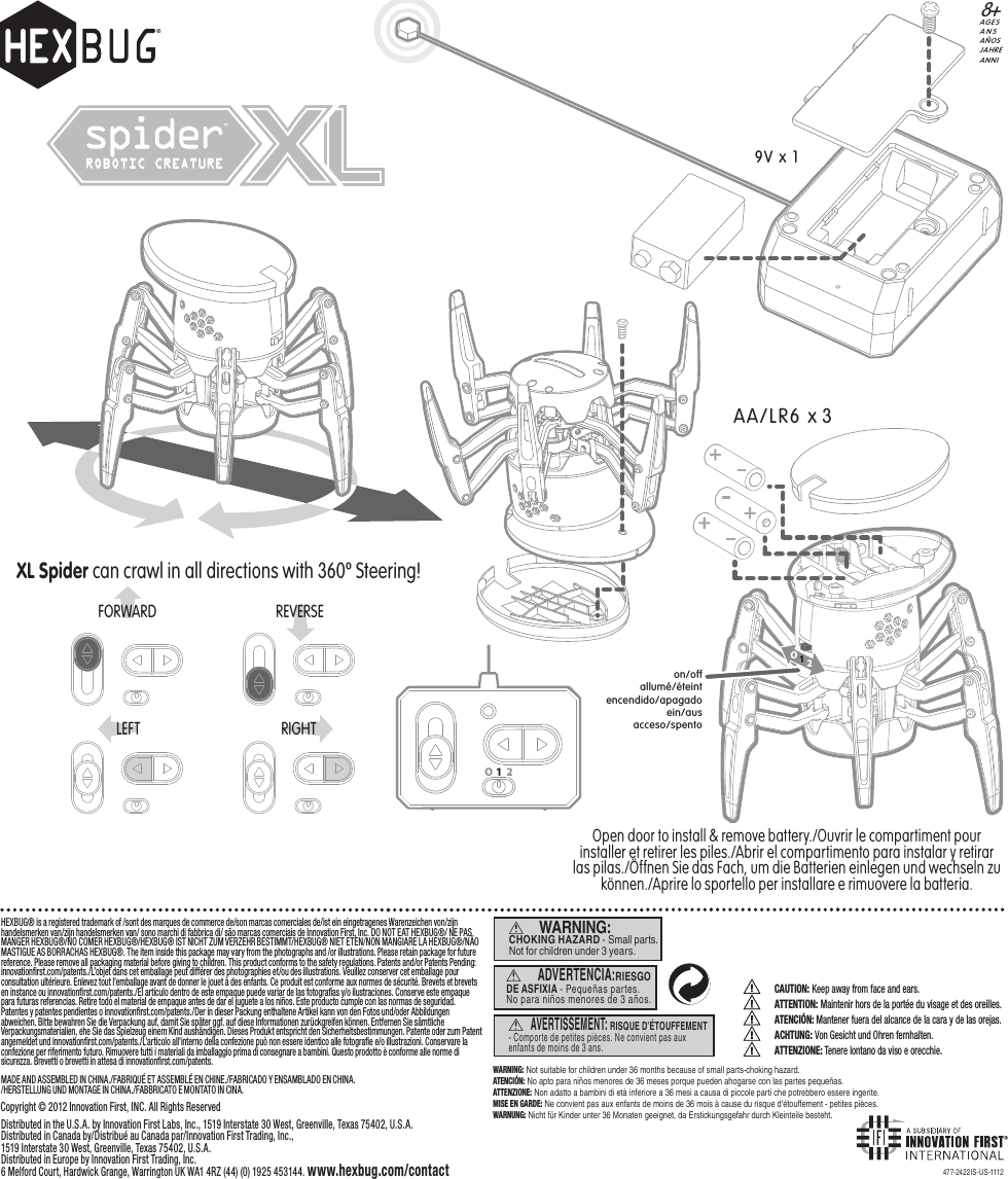 Page 1 of SPIDER01 Hexbug Spider R/C User Manual 477