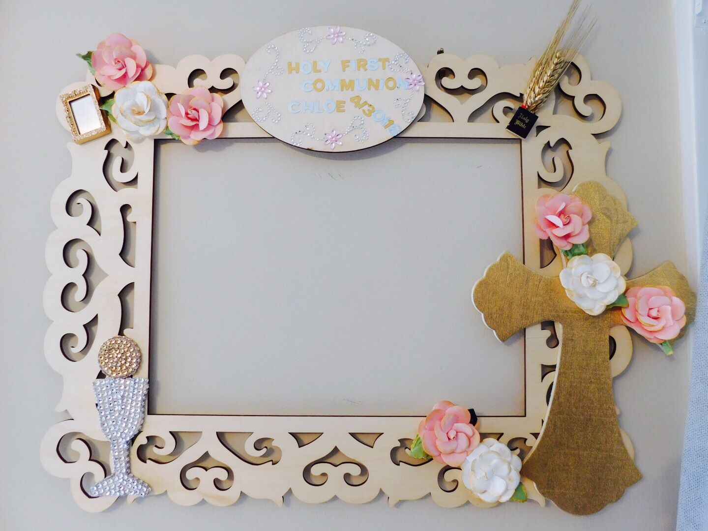 first communion frame picture decoration first communion pinterest communion decoration. Black Bedroom Furniture Sets. Home Design Ideas